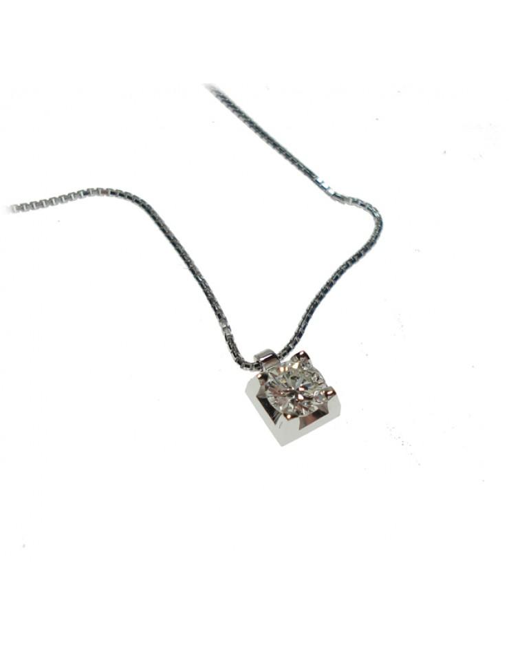 Collana donna oro bianco punto luce  con diamante ct. 0,30 - Cicalese Gioielli Valenza Made in Italy