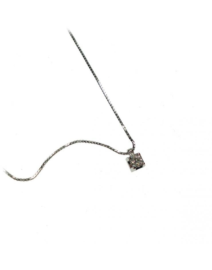 Collana donna oro bianco punto luce  con diamante ct. 0,15 F - Cicalese Gioielli Valenza Made in Italy