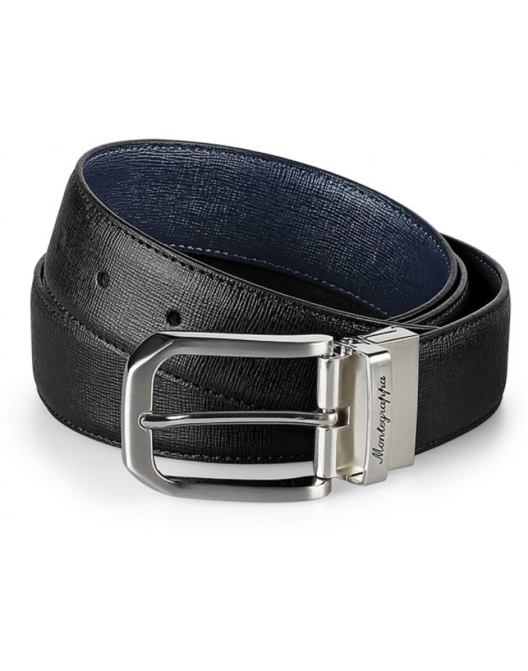 Cintura Montegrappa Pelle di Vitello Saffiano Nero/Blu