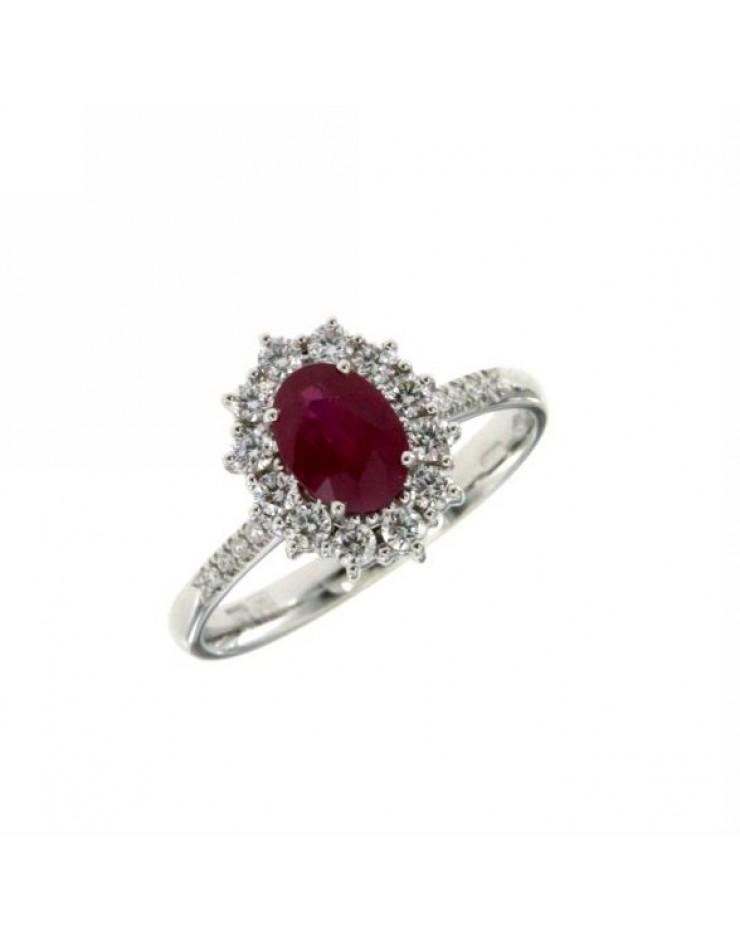 Anello donna oro bianco con Rubino e diamanti Misura 14 - Cicalese Gioielli Valenza Made in Italy