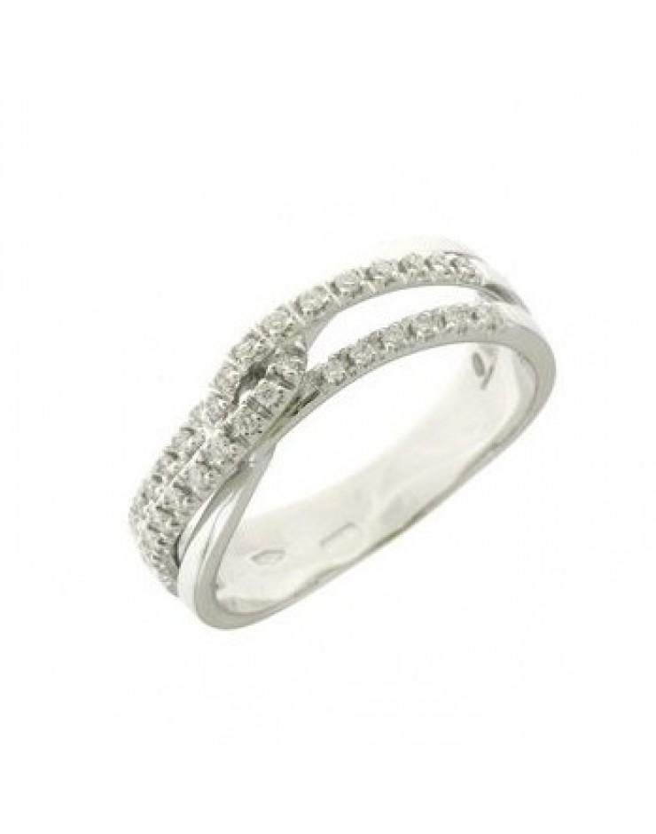 Anello donna oro bianco fantasia con incrocio con diamanti misura 14 - Cicalese Gioielli Valenza Made in Italy