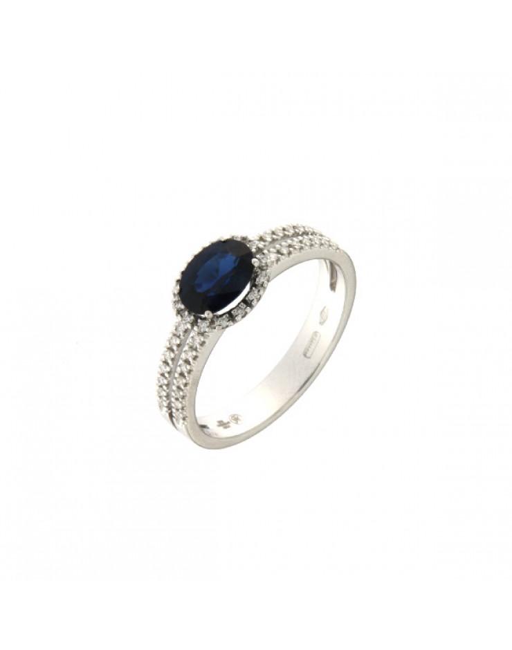 Anello donna oro bianco con Zaffiro Blu e Diamanti Misura 14 - Cicalese Gioielli Valenza Made in Italy