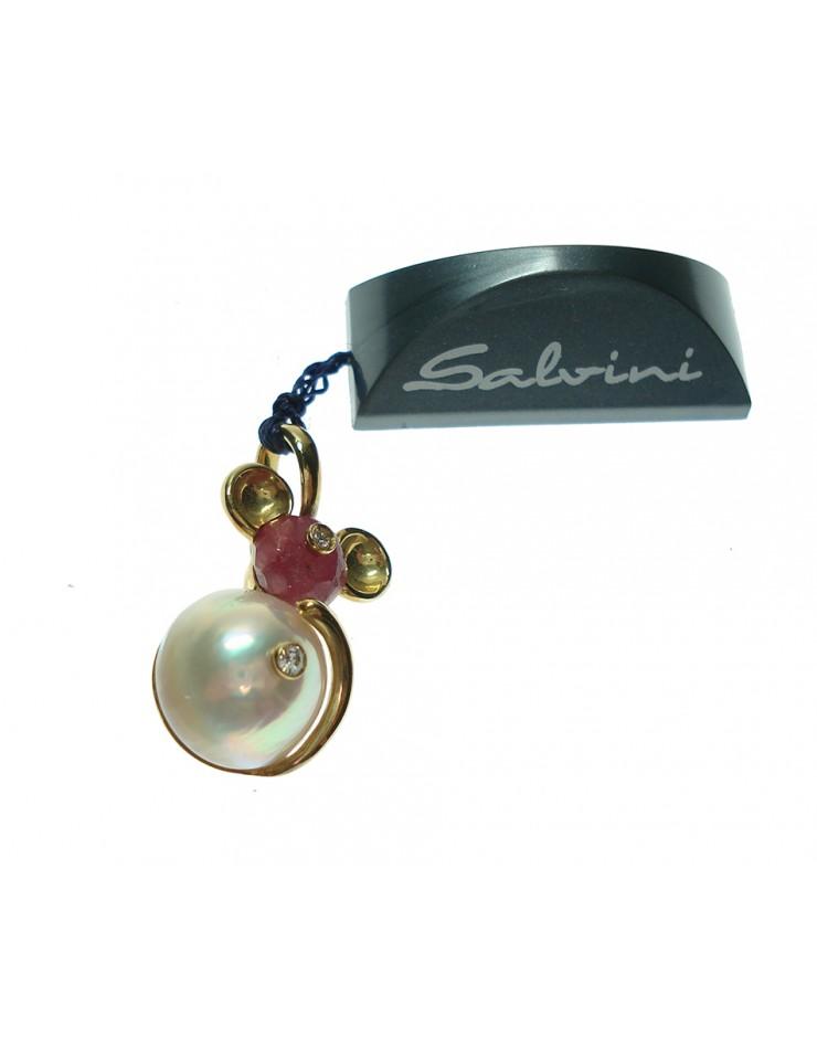 Pendente ciondolo donna oro giallo Topolino SALVINI con perla e diamanti - SALDI