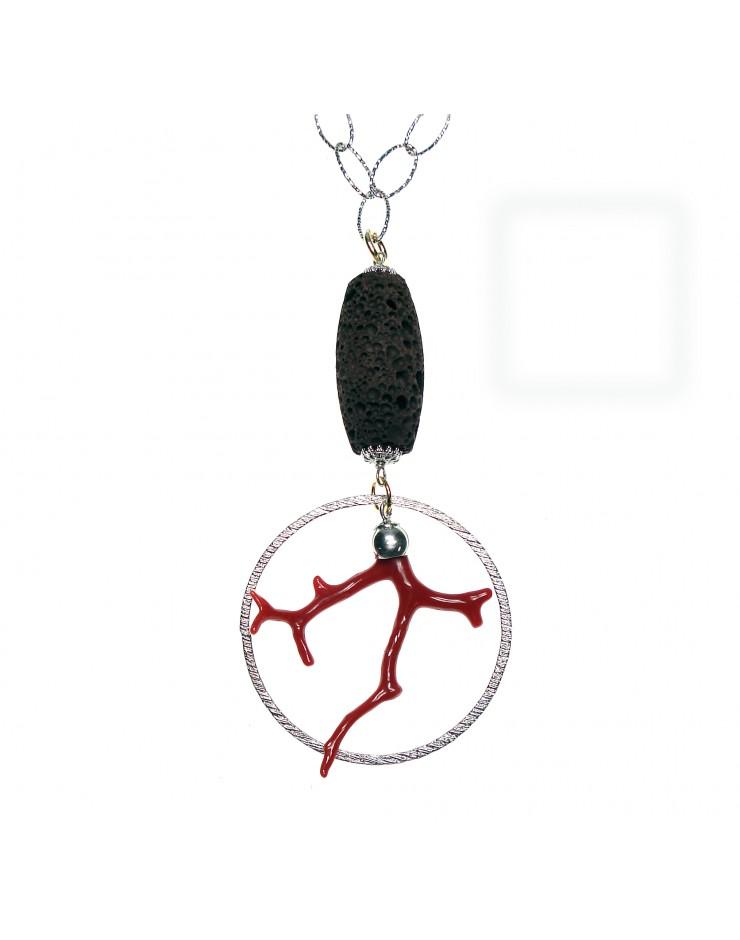 Collana donna Michele Cicalese - Argento, corallo e pietra lavica. Pezzo Unico - Gioiello Artigianale