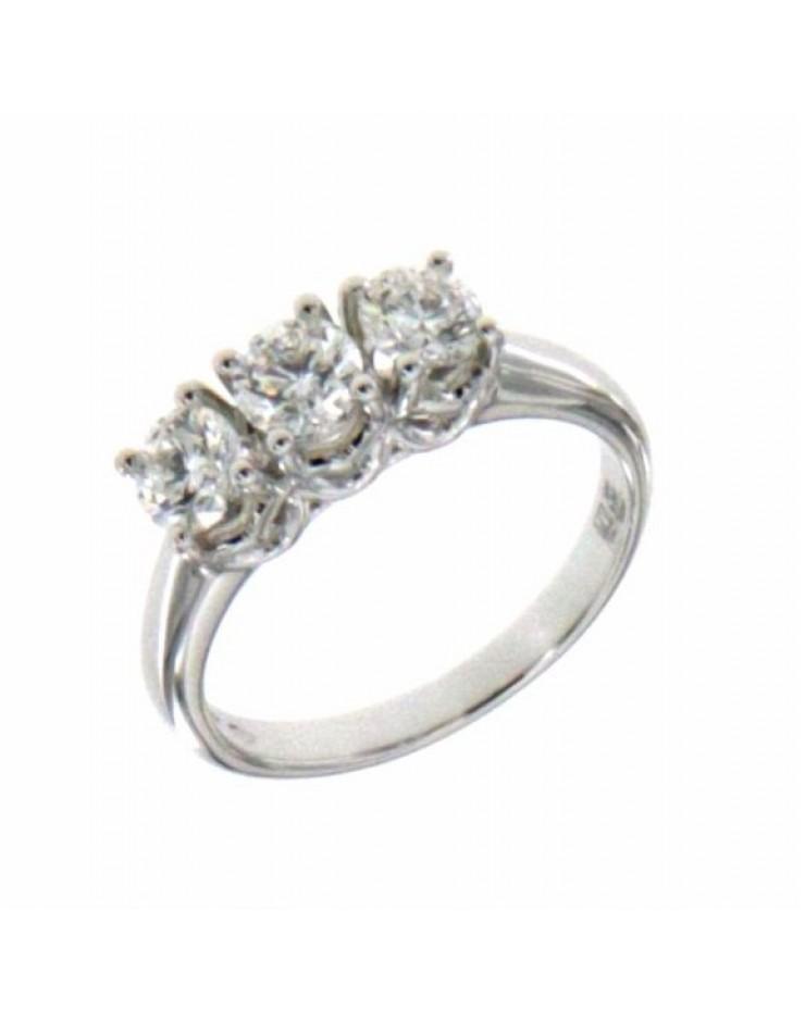 Anello donna oro bianco Trilogy con diamanti ct. 0,95 F Misura 13 - Cicalese Gioielli Valenza Made in Italy