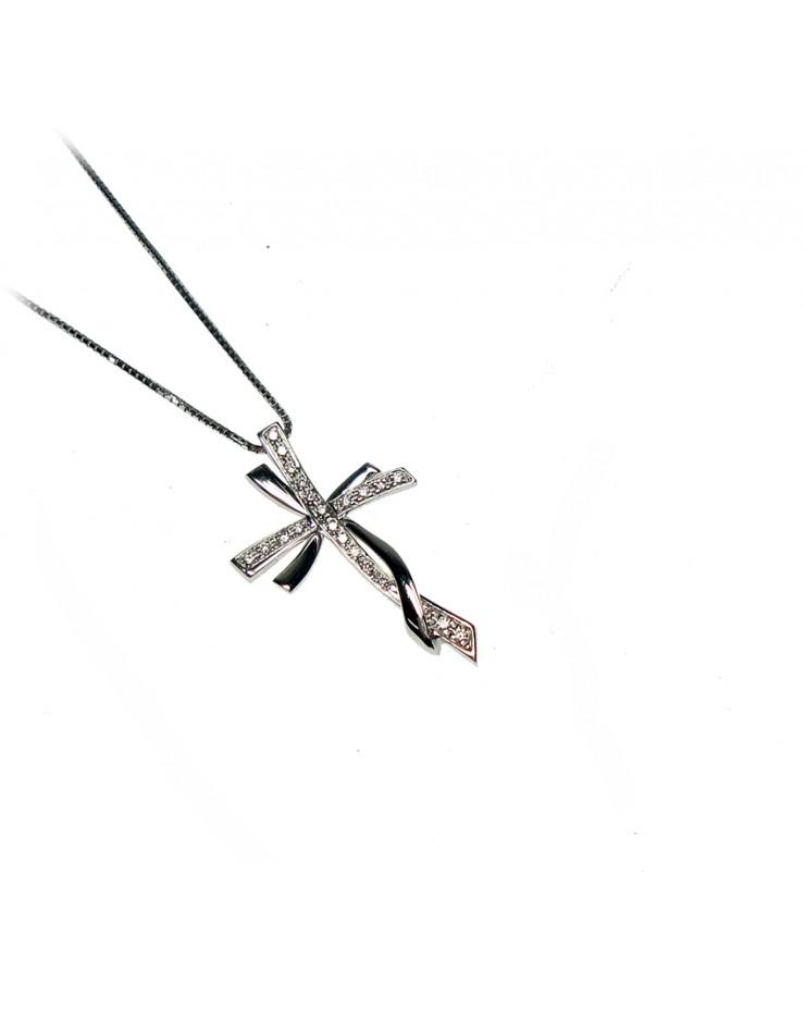 Collana donna oro bianco Croce con diamanti tot. ct. 0,09 - Cicalese Gioielli Valenza Made in Italy