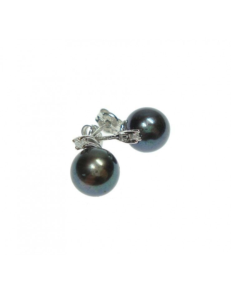 Orecchini Perle Nere 8/8,5 oro bianco con diamanti tot. ct. 0,04 - Nihama
