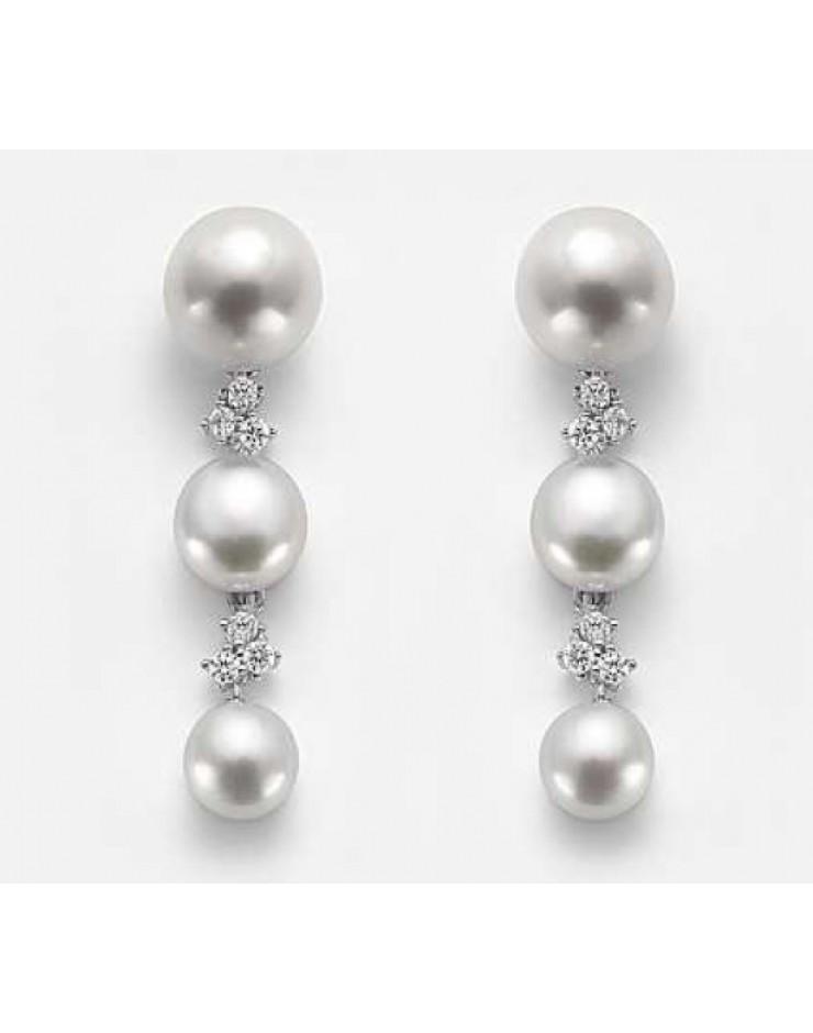 Orecchini donna argento con perla e cristalli Swarovski - Nihama