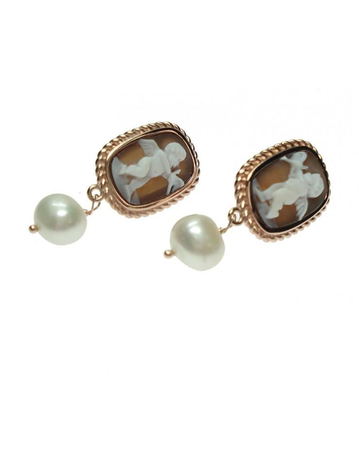 Orecchini argento rose gold Cameo Italiano Puttino con cameo e perle
