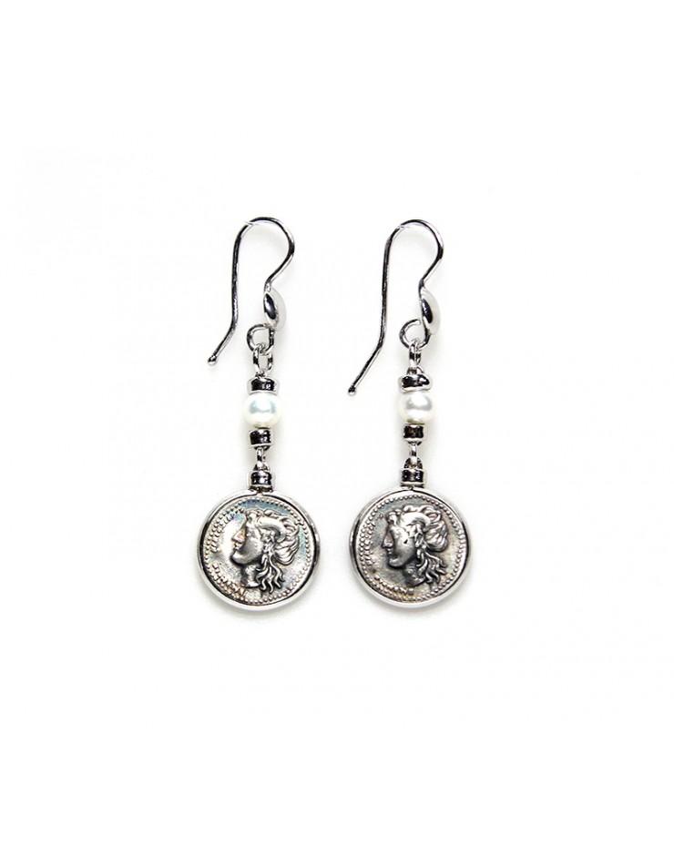 Orecchini Made in Nuceria - Moneta Didramma in argento e perle - Gioiello Artigianale - Venere