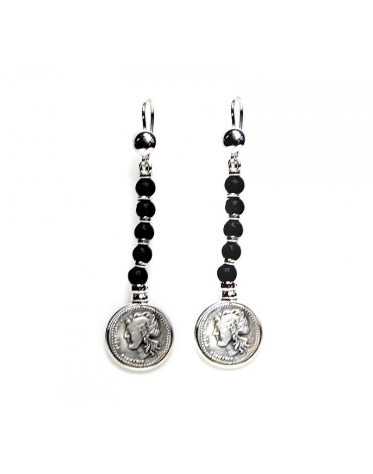 Orecchini Made in Nuceria - Moneta Didramma in argento e pietra lavica - Gioiello Artigianale - Vulcano