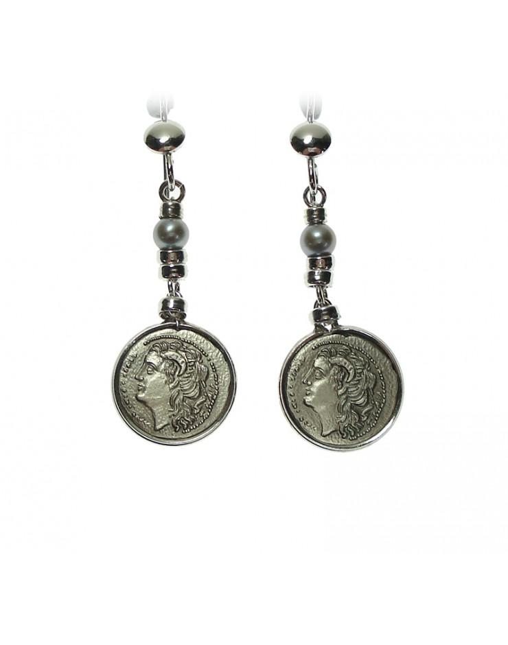 Orecchini Made in Nuceria - Moneta Didramma in argento e perle - Pezzo Unico - Gioiello Artigianale - Poseidone