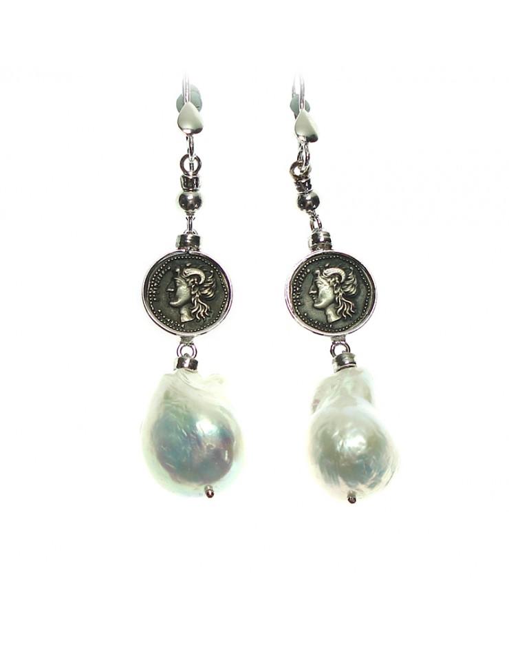 Orecchini Made in Nuceria - Moneta Didramma in argento e perla barocca - Pezzo Unico - Gioiello Artigianale - Poseidone