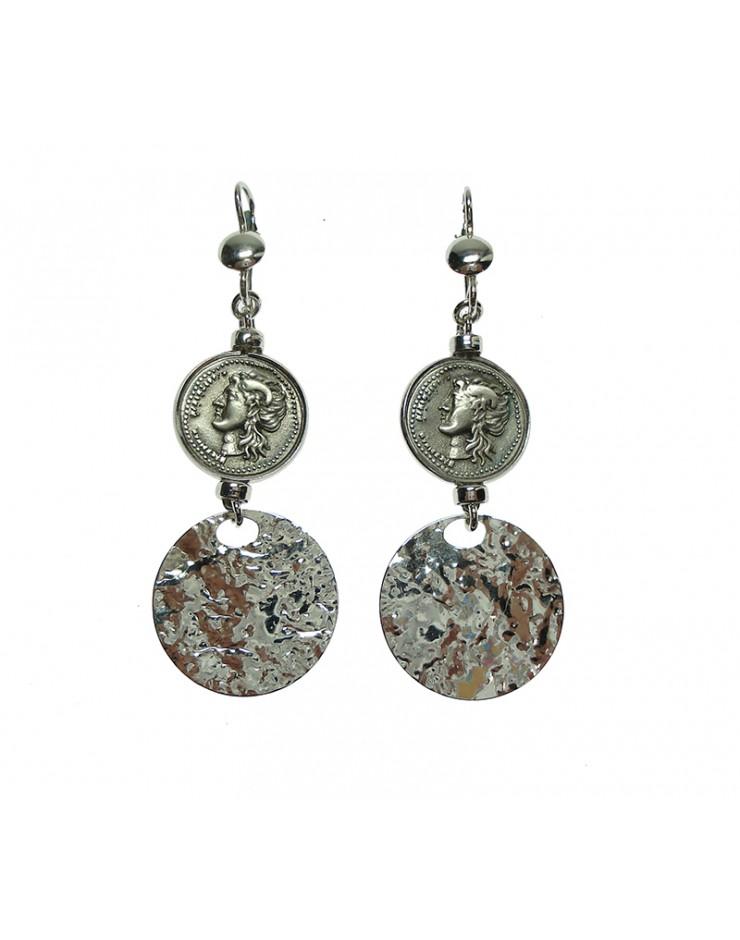 Orecchini Made in Nuceria - Moneta Didramma in argento - Gioiello Artigianale - Apollo
