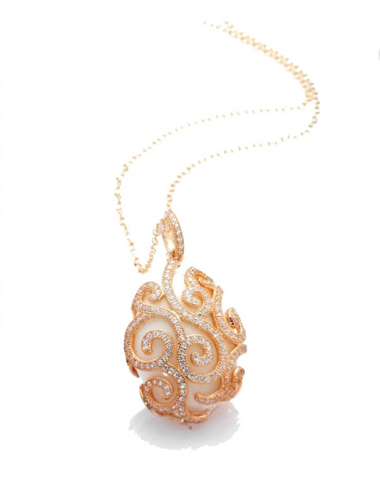 Collana donna Maison Tatiana Fabergè argento rose gold con agata bianca e cristalli Alexandra