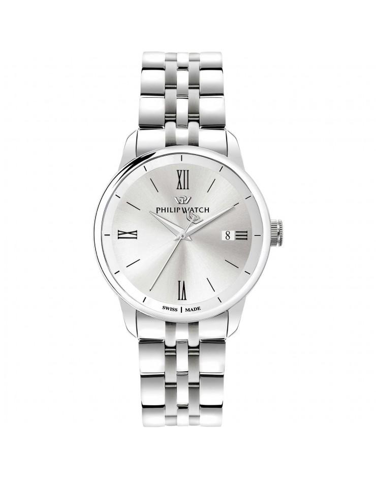 Orologio uomo solo tempo Philip Watch Anniversary quarzo Swiss Made Silver
