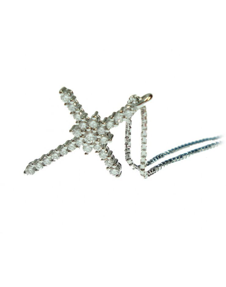 Collana donna oro bianco Croce con diamanti tot. ct. 0,22 - Cicalese Gioielli Valenza Made in Italy