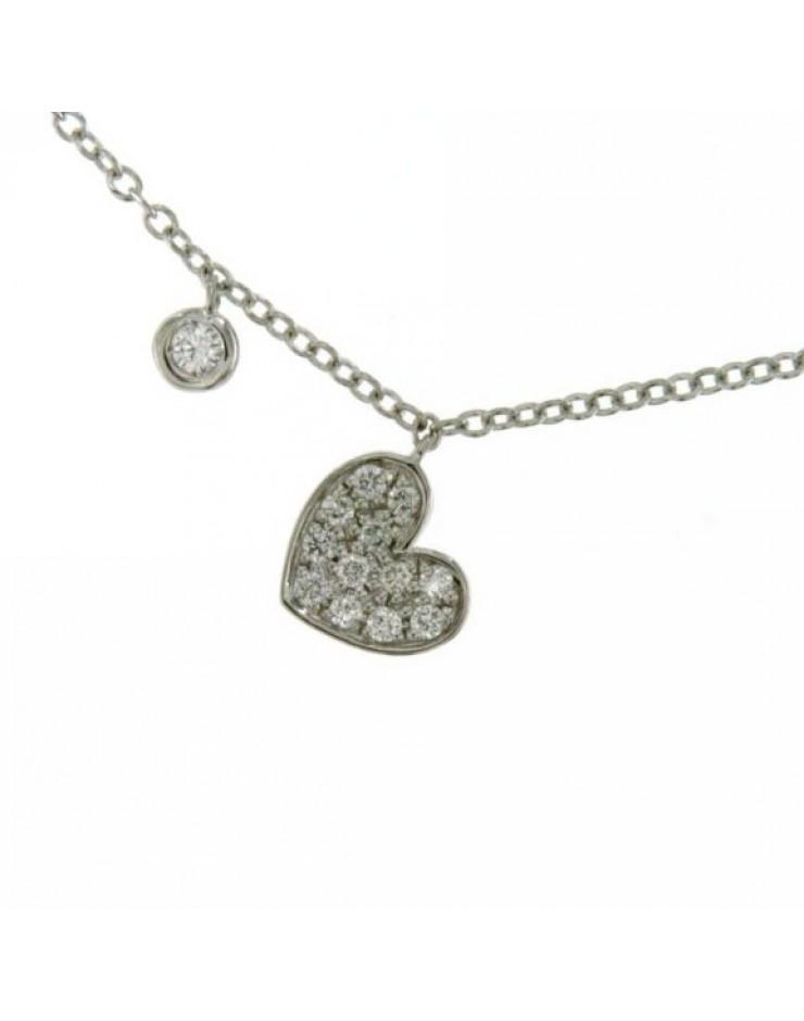 Collana donna oro bianco Cuore con diamanti tot. ct. 0,11+2 - Cicalese 1898 Gioielleria Made in Italy